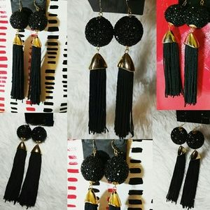 Jewelry - Glam Crusted Black Chandelier Tassel Earrings